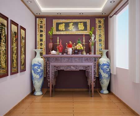 Không gian nội thất phòng thờ   bàn thờ tổ tiên   hướng bàn thờ