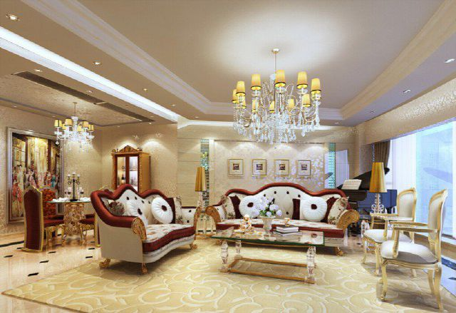 Thiết kế phòng khách đẹp kiểu Pháp