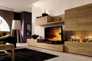 Bài trí kệ bằng gỗ đầy tiện ích cho căn phòng khách-01