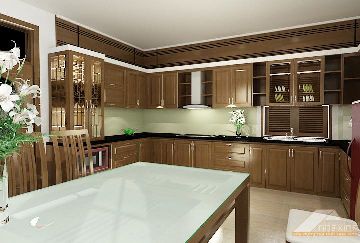 Nội thất gỗ cho phòng bếp tươi sáng hiện đại. 3