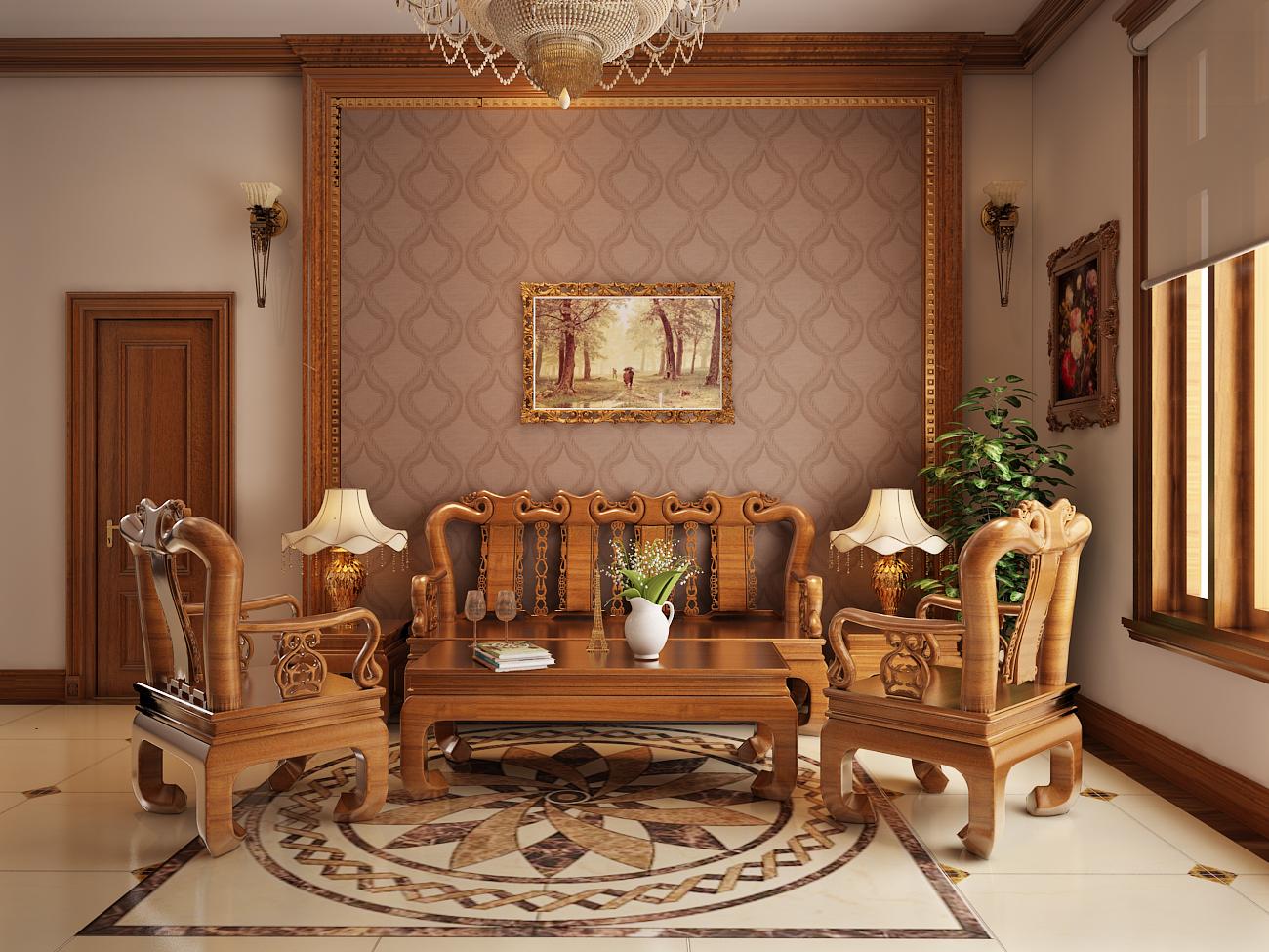 Nội thất gỗ cho phòng khách sang trọng. 1