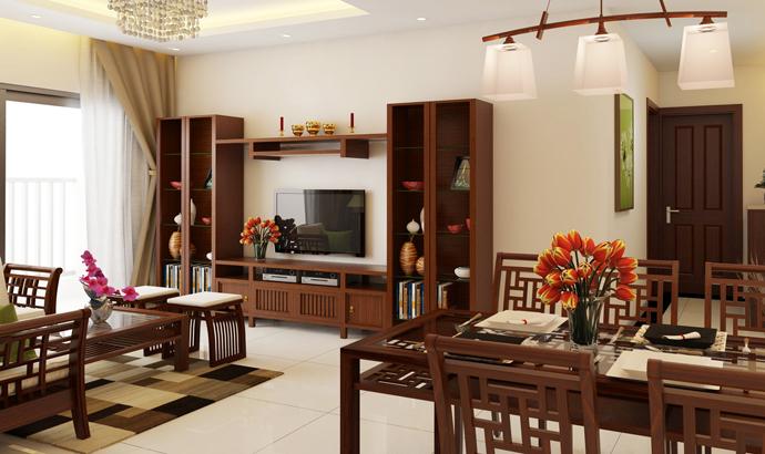 Nội thất gỗ cho phòng khách sang trọng. 3