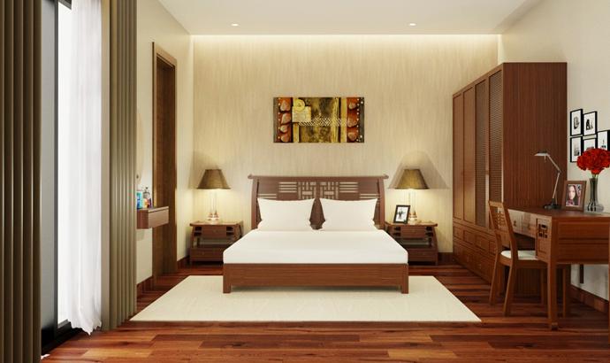 Nội thất gỗ cho phòng ngủ ấm cúng. 3