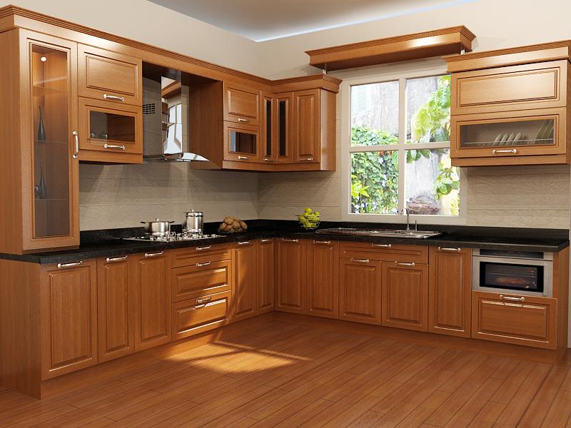 Nội thất đồ gỗ đẹp cho phòng bếp ấm cúng. 1