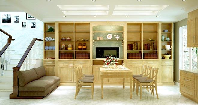 Không gian nhà đẹp với nội thất gỗ sang trọng - Ảnh 03