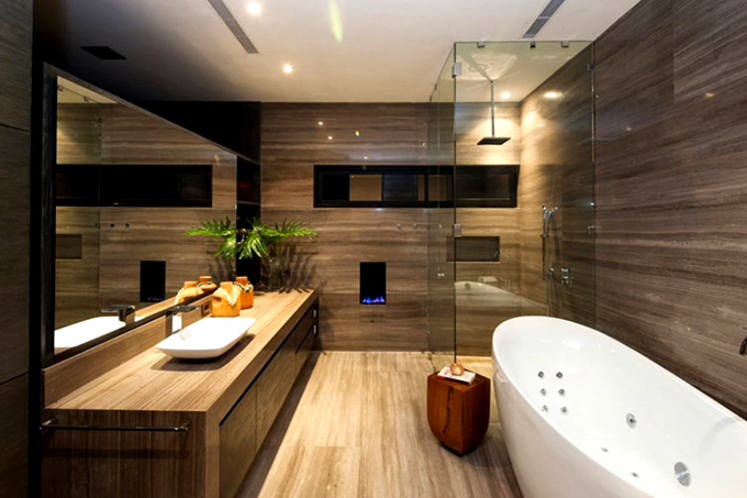Không gian nhà đẹp với tường ốp gỗ nội thất - Phòng tắm