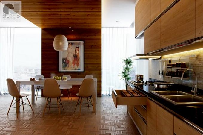 Không gian nhà đẹp với tường ốp gỗ nội thất - Quán bếp ăn