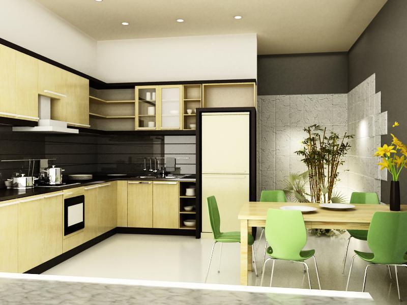 Thiết kế nội thất gỗ cho phòng bếp sạch sẽ. 3