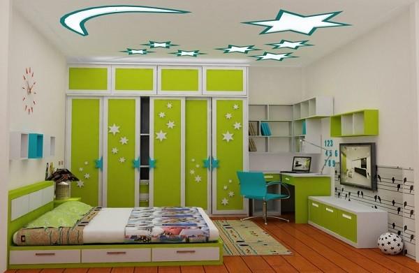 Thiết kế nội thất màu xanh cốm cho bé