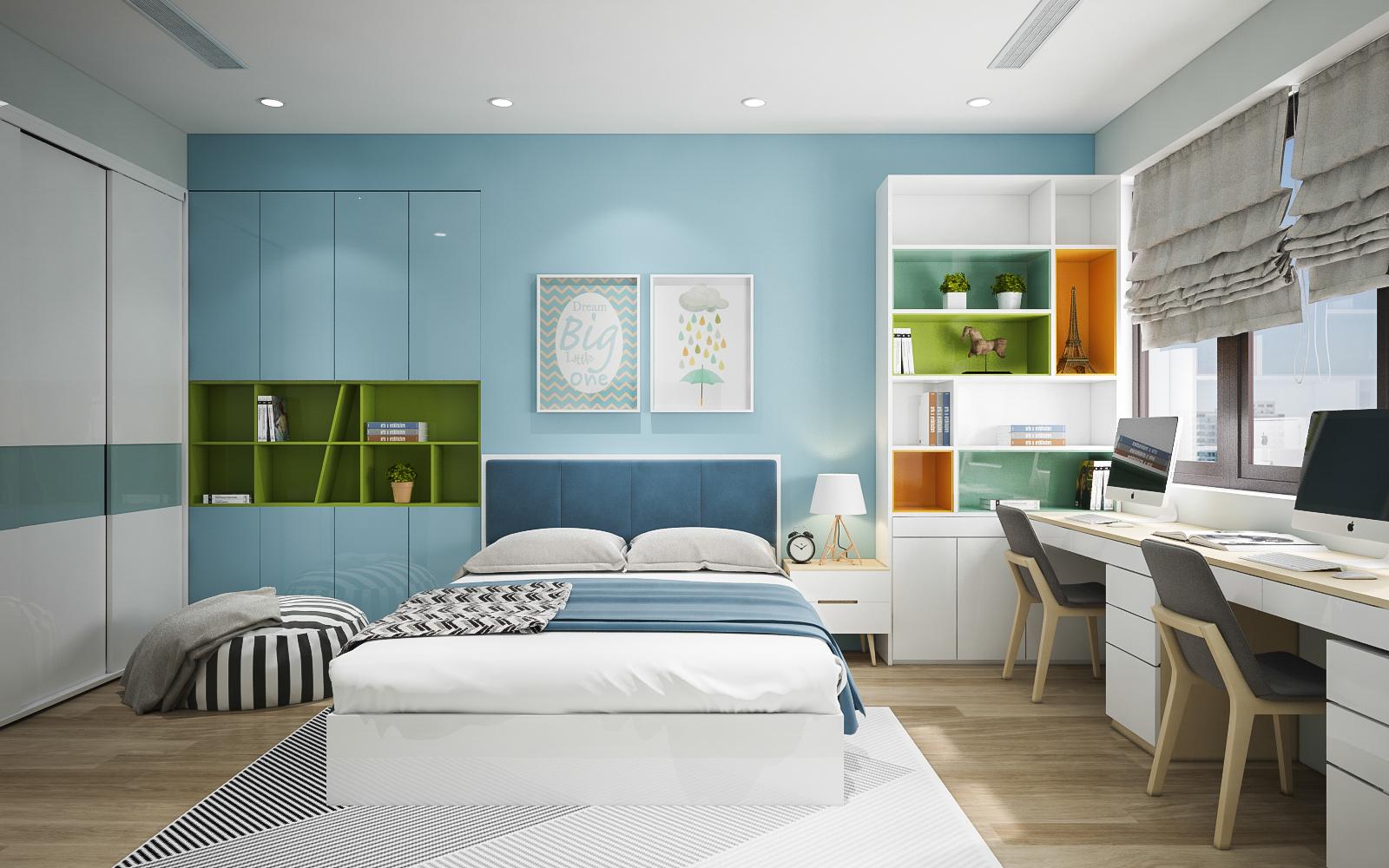 Thiết kế nội thất phòng ngủ màu xanh biển cho bé trai