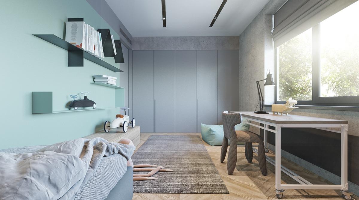 Thiết kế nội thất phòng ngủ màu xanh cốm