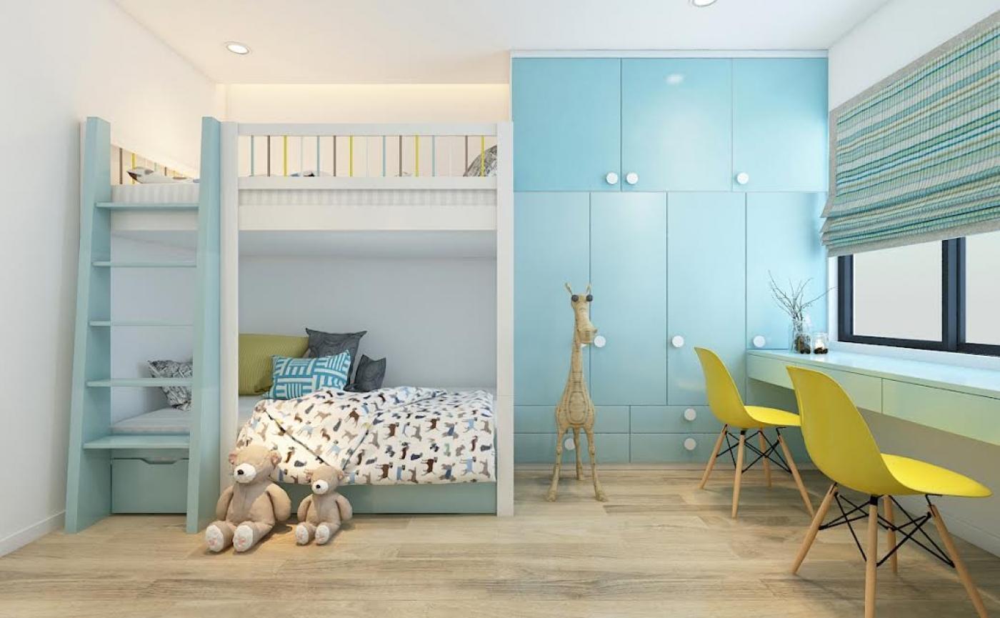 Thiết kế nội thất phòng ngủ màu xanh phớt cực đẹp cho bé