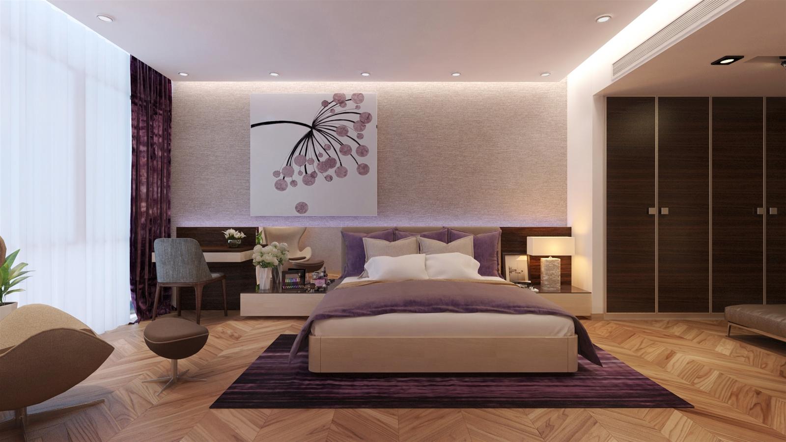 Trang trí nội thất chung cư với tranh in phong thủy phòng ngủ