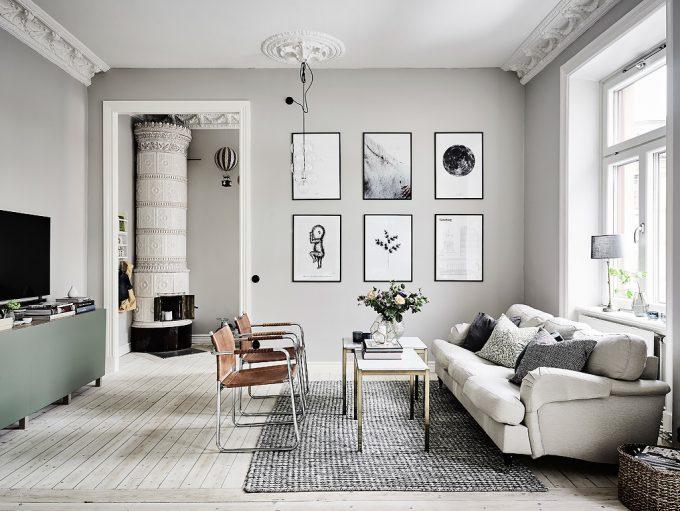 Thiết kế gỗ nội thất hai màu xám trắng ấn tượng - Phòng sinh hoạt chung