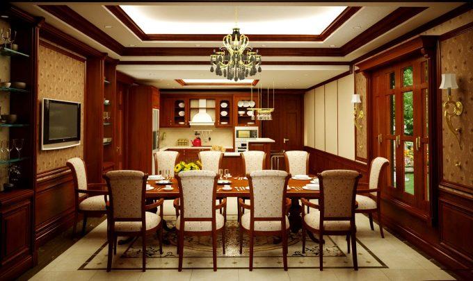 Thiết kế gỗ nội thất biệt thự - Nội thất phòng bếp - ăn