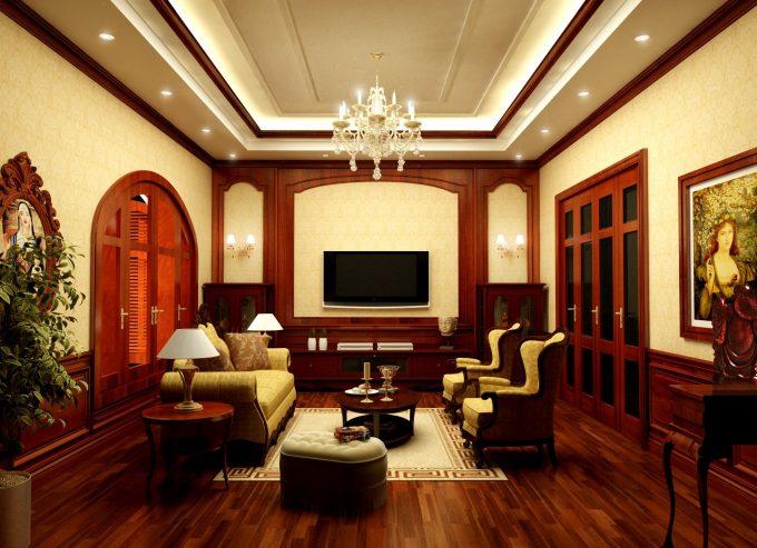 Thiết kế gỗ nội thất biệt thự - Nội thất phòng sinh hoạt chung