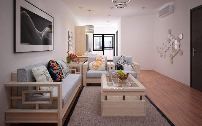 Thiết kế gỗ nội thất đẹp cho phòng khách nhà phố - 1