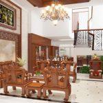 Thiết kế gỗ nội thất đẹp cho phòng khách nhà phố