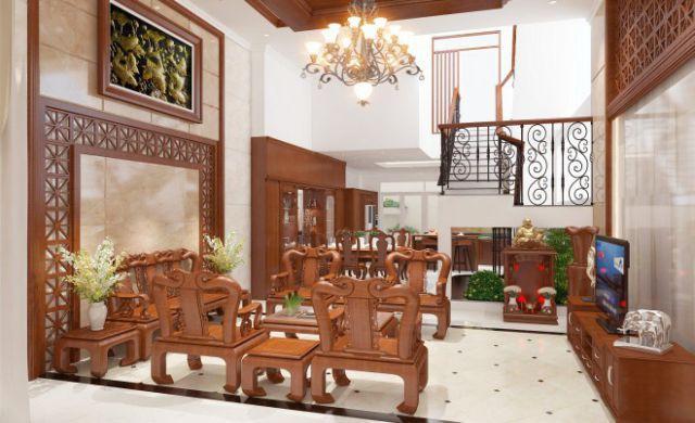 Thiết kế gỗ nội thất đẹp cho phòng khách nhà phố - 2