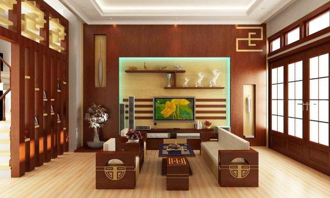 Thiết kế gỗ nội thất đẹp cho phòng khách nhà phố - 6
