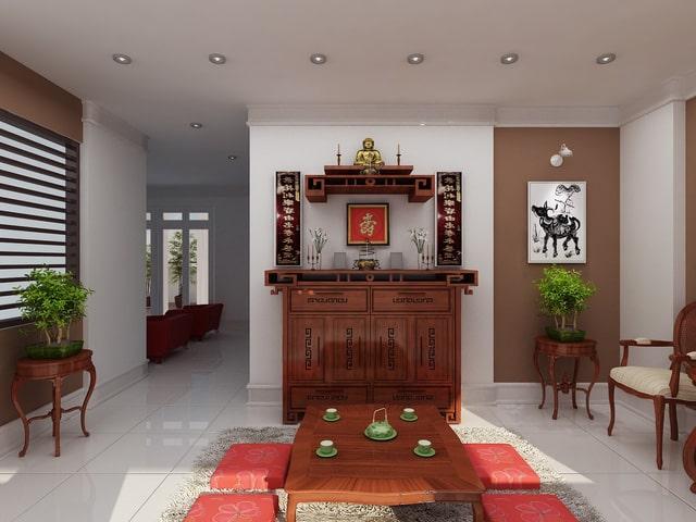 Thiết kế gỗ nội thất giá rẻ cho phòng thờ nhà ống - 3