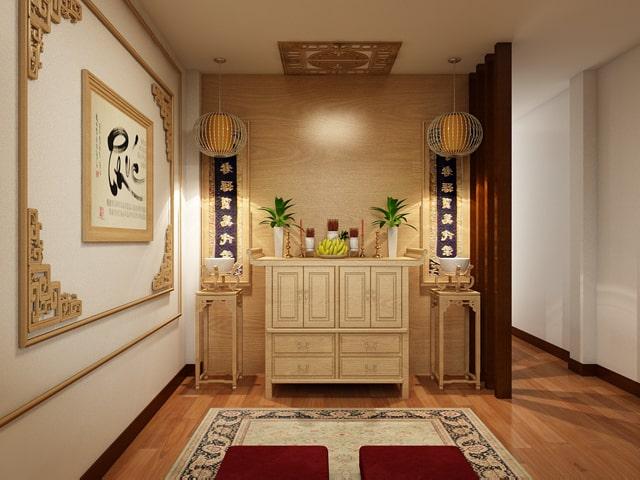 Thiết kế gỗ nội thất giá rẻ cho phòng thờ nhà ống - 4