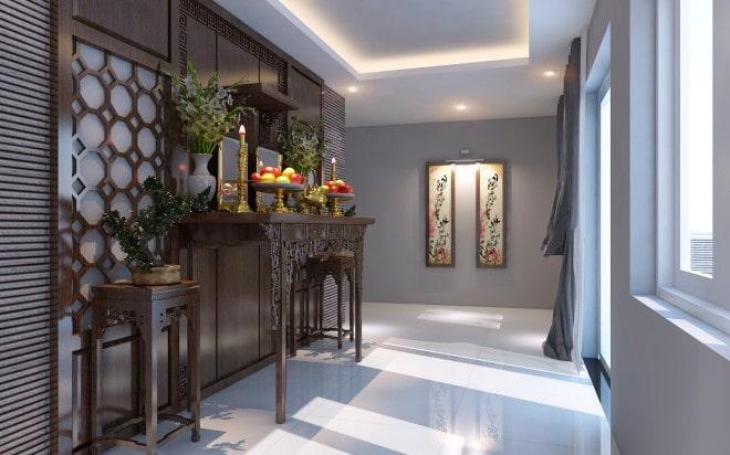 Thiết kế gỗ nội thất giá rẻ cho phòng thờ nhà ống - 5