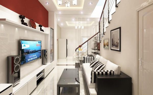 Thiết kế gỗ nội thất giá rẻ và cách sắp xếp cho phòng khách nhà ống - 3