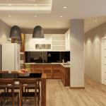 Thiết kế gỗ nội thất phòng bếp nhà ống hiện đại và tiện nghi