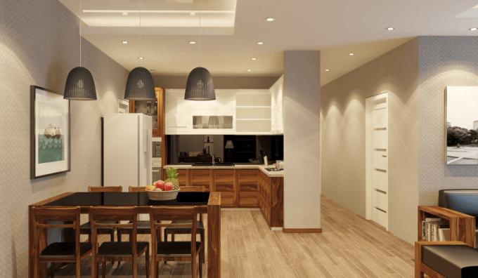 Thiết kế gỗ nội thất phòng bếp nhà ống hiện đại và tiện nghi - 1