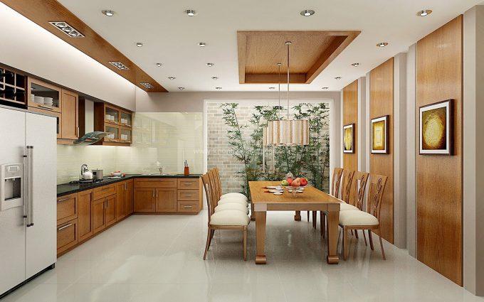 Thiết kế gỗ nội thất phòng bếp nhà ống hiện đại và tiện nghi - 2
