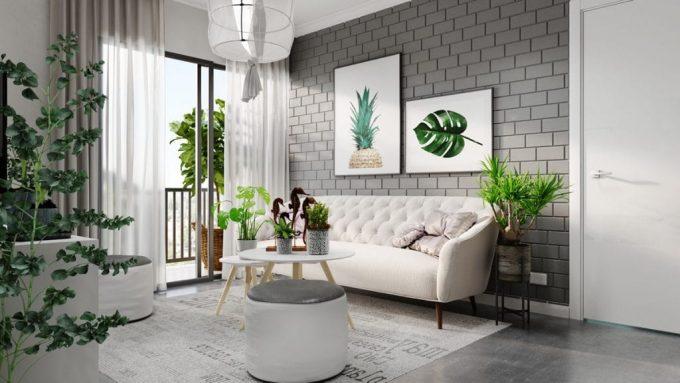 Thiết kế gỗ nội thất hai màu xám trắng ấn tượng - Phòng khách