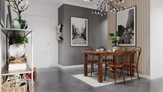 Thiết kế gỗ nội thất hai màu xám trắng ấn tượng - Phòng ăn