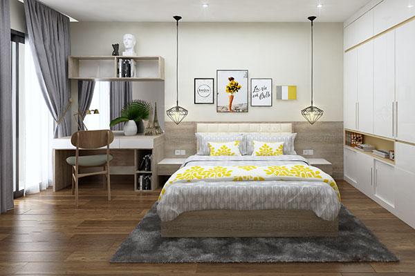 Thiết kế nội thất chung cư đẹp - Phòng ngủ bố mẹ