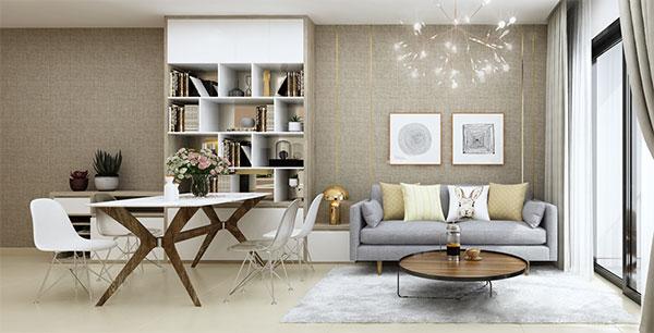 Thiết kế nội thất chung cư đẹp - Phòng ăn và sinh hoạt chung
