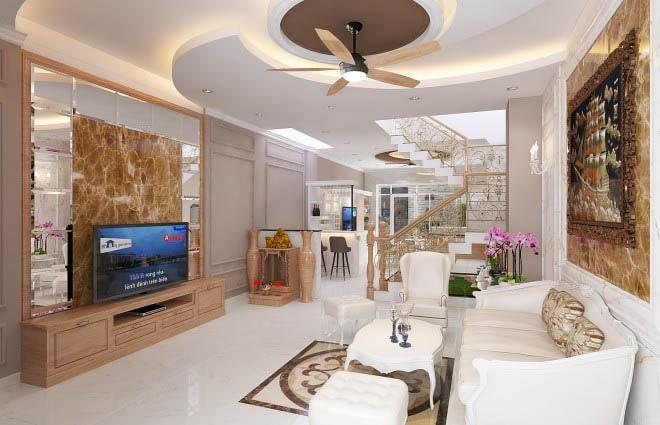 Thiết kế gỗ nội thất cổ điển cho nhà phố 3 tầng - Phòng khách