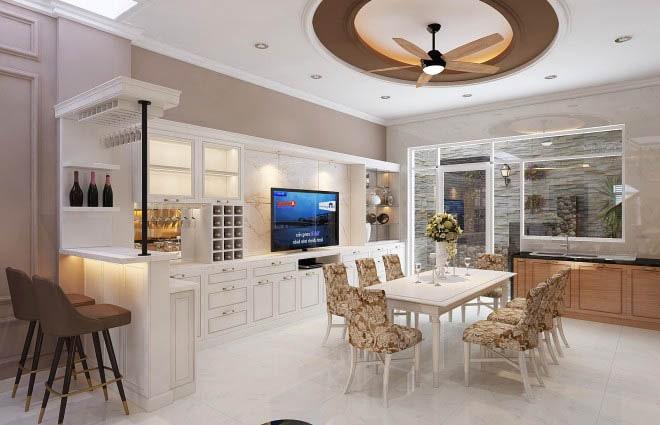 Thiết kế gỗ nội thất cổ điển cho nhà phố 3 tầng - Phòng bếp - ăn
