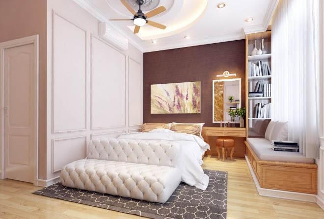 Thiết kế gỗ nội thất cổ điển cho nhà phố 3 tầng - Phòng ngủ bố mẹ