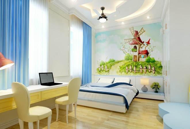 Thiết kế gỗ nội thất cổ điển cho nhà phố 3 tầng - Phòng ngủ con