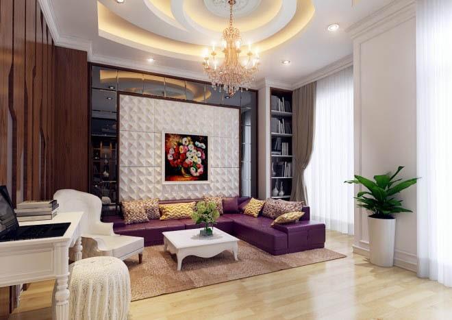 Thiết kế gỗ nội thất cổ điển cho nhà phố 3 tầng - Phòng sinh hoạt chung