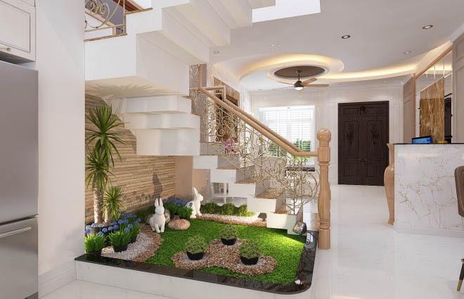 Thiết kế gỗ nội thất cổ điển cho nhà phố 3 tầng - Cầu thang và tiểu cảnh