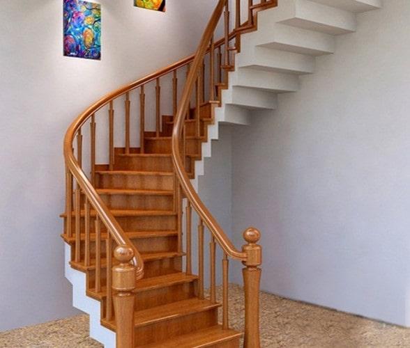 Thi công gỗ nội thất giá rẻ cho cầu thang nhà ống - 2