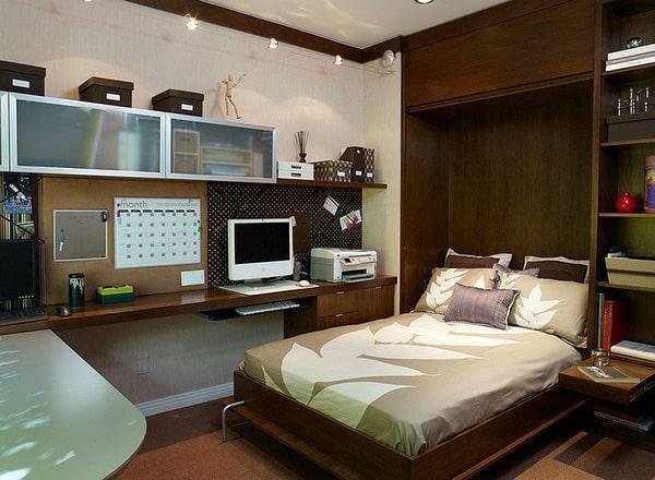 Thiết kế gỗ nội thất cho phòng ngủ kết hợp phòng làm việc - 1