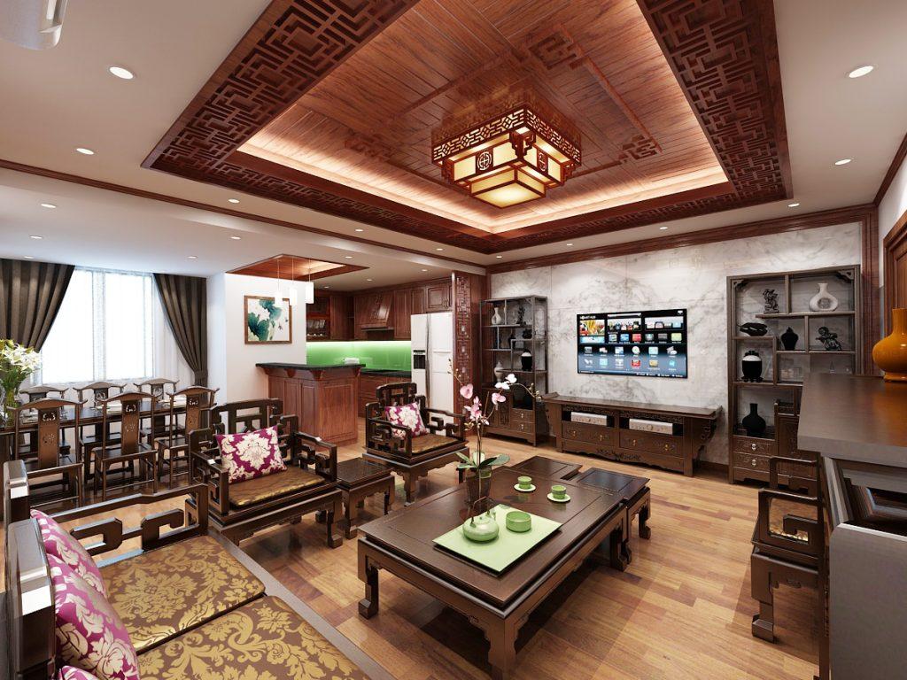 Thi công gỗ nội thất phòng khách đẹp